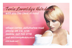 Tania Loveridge Hair Design Business card